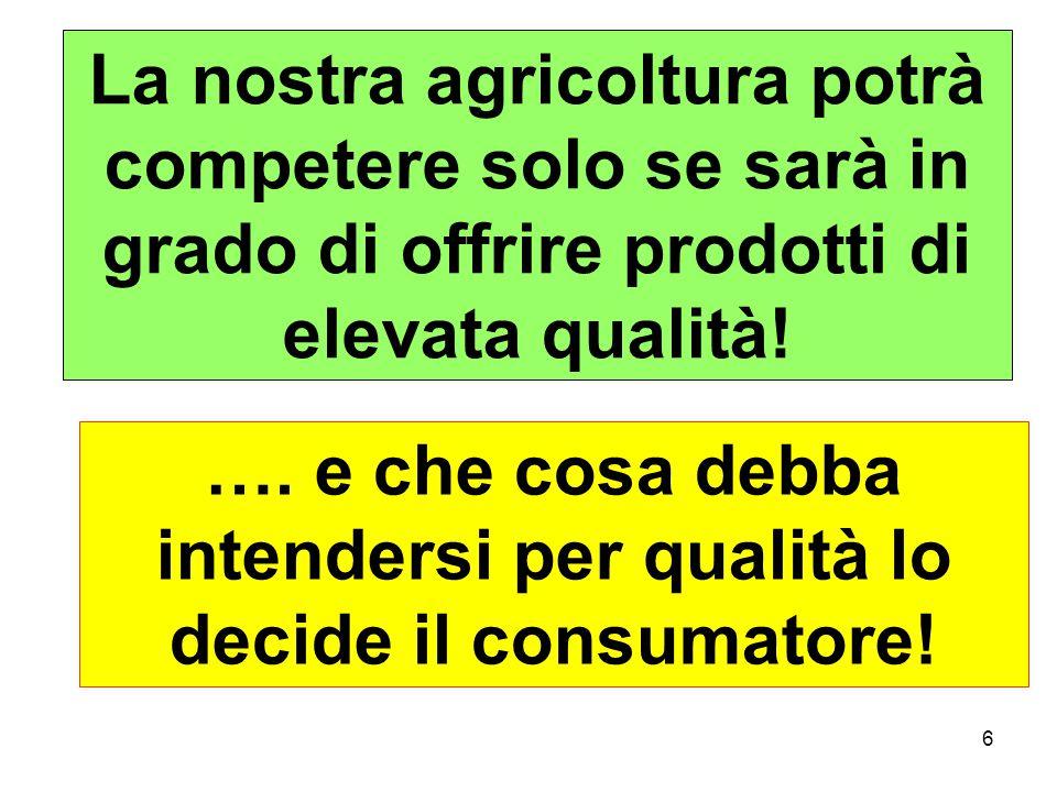 …. e che cosa debba intendersi per qualità lo decide il consumatore!