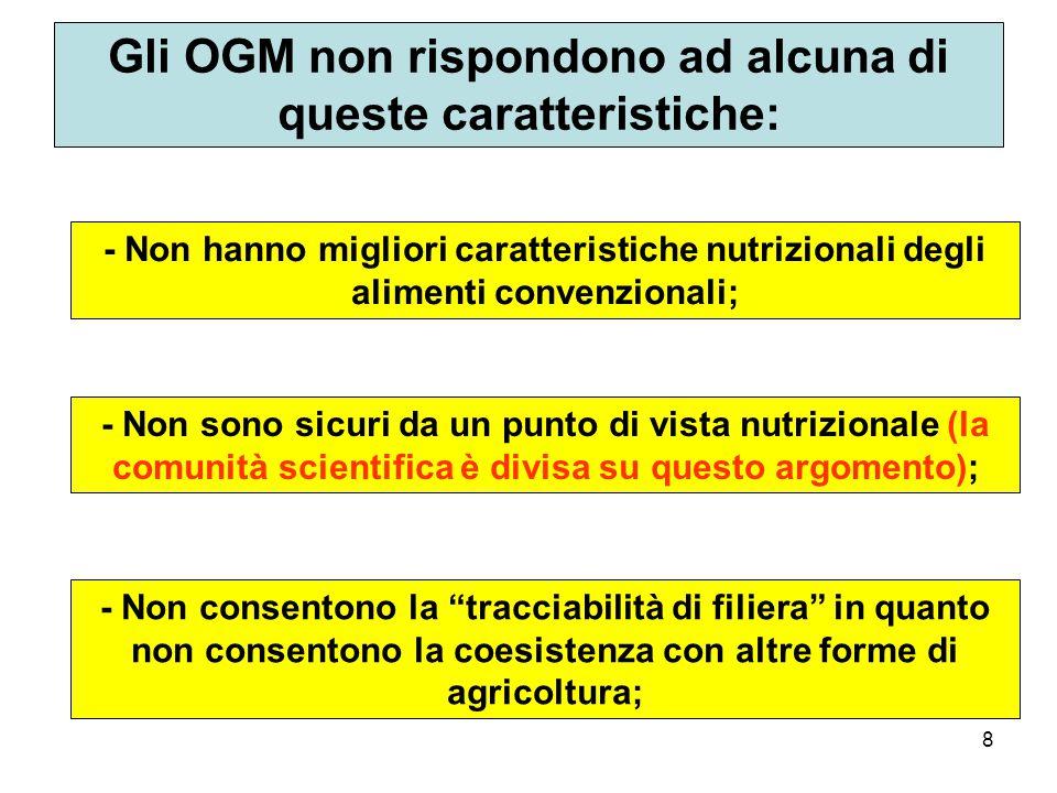 Gli OGM non rispondono ad alcuna di queste caratteristiche: