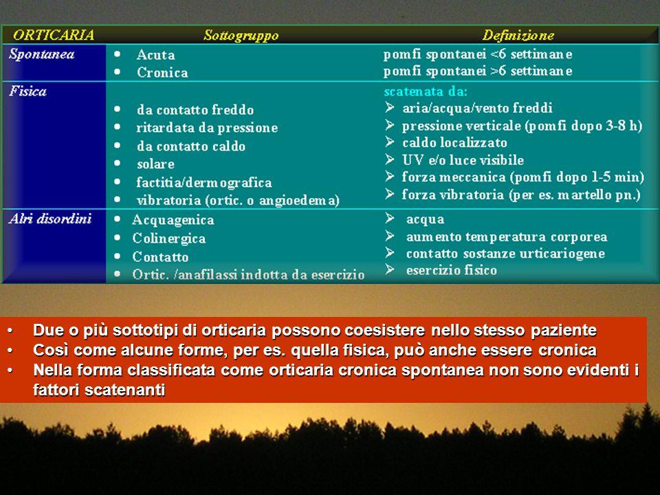 Due o più sottotipi di orticaria possono coesistere nello stesso paziente