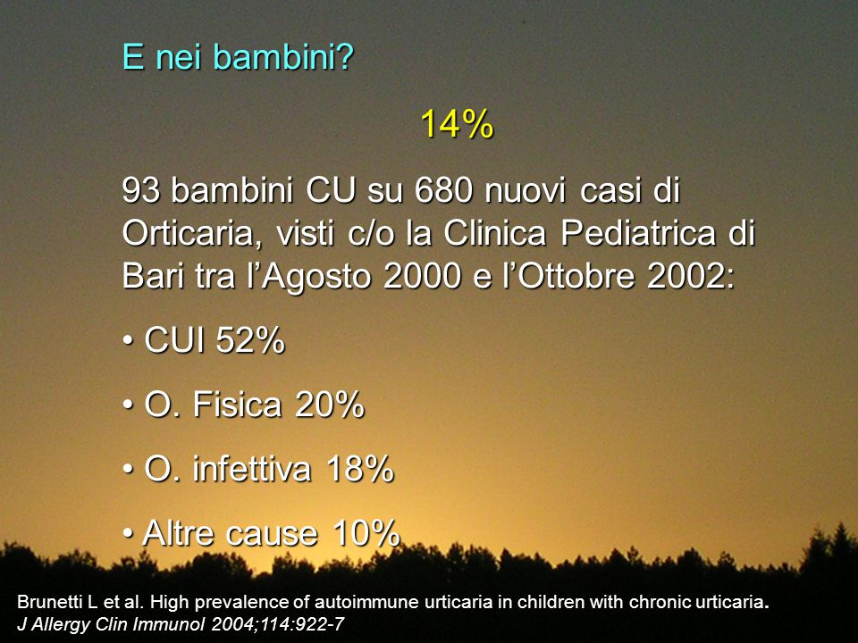 E nei bambini 14% 93 bambini CU su 680 nuovi casi di Orticaria, visti c/o la Clinica Pediatrica di Bari tra l'Agosto 2000 e l'Ottobre 2002: