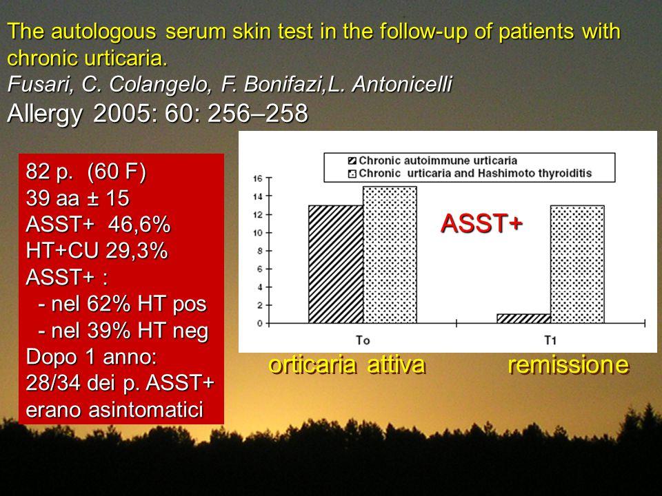 Allergy 2005: 60: 256–258 ASST+ orticaria attiva remissione