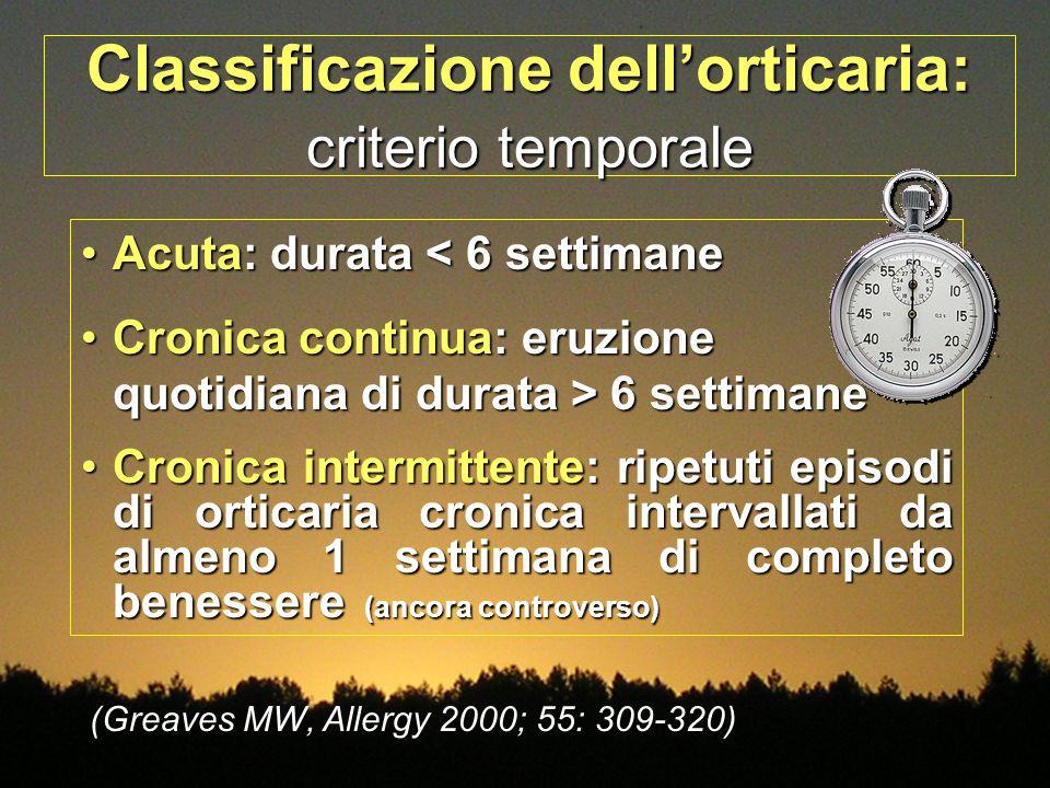 Classificazione dell'orticaria: criterio temporale