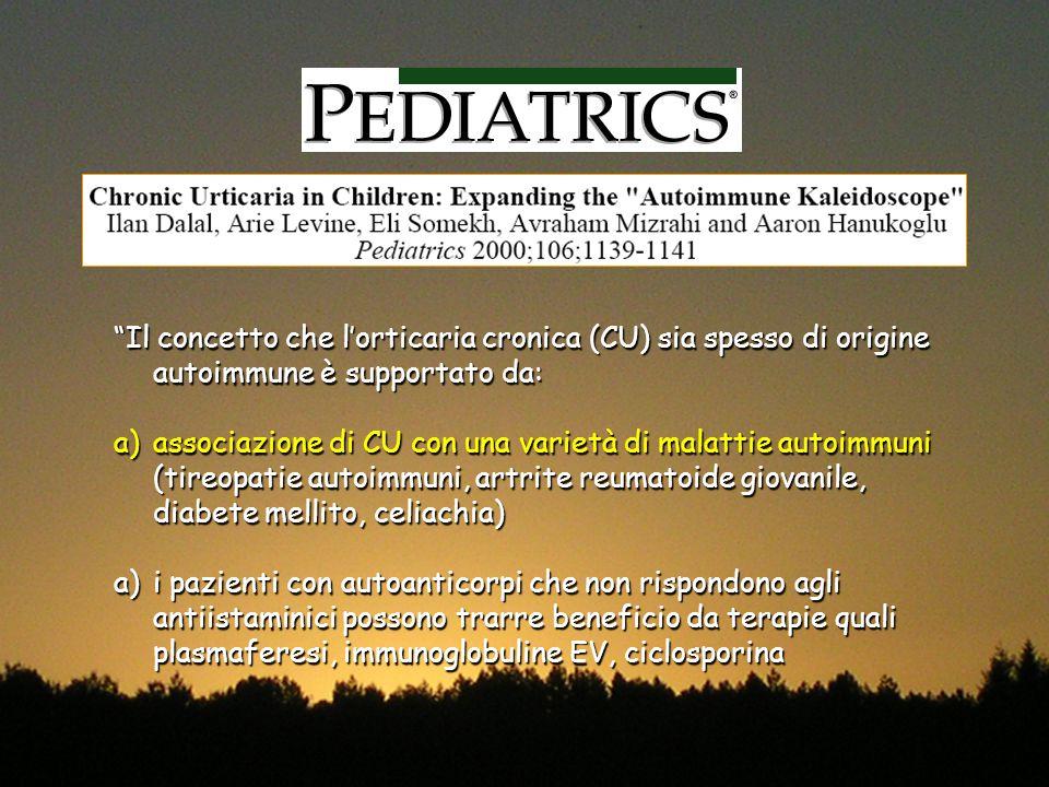 Il concetto che l'orticaria cronica (CU) sia spesso di origine autoimmune è supportato da: