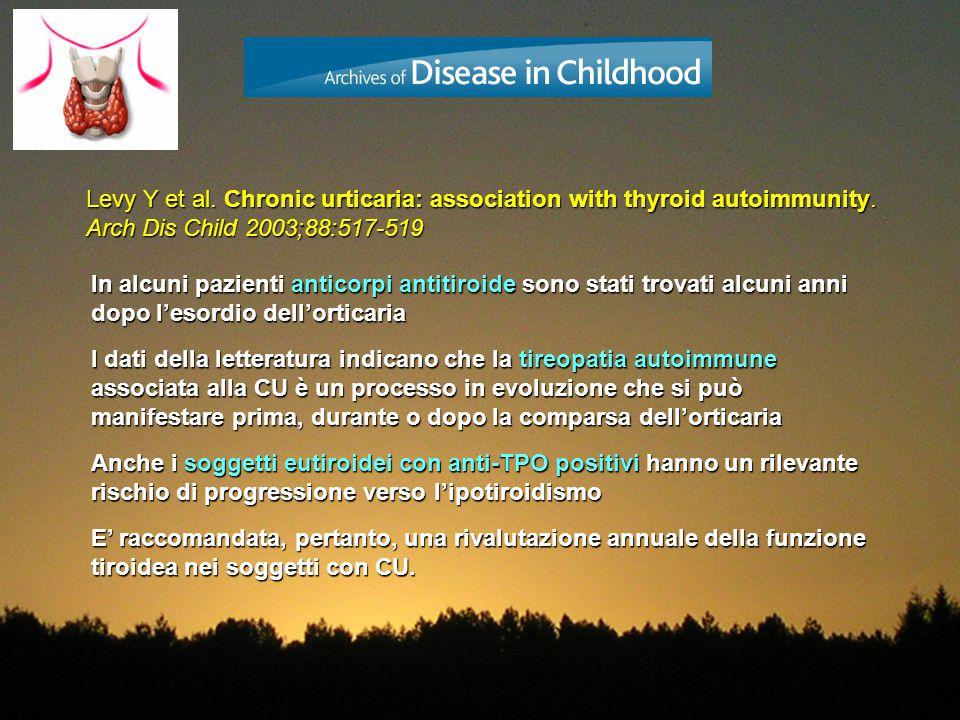 Levy Y et al. Chronic urticaria: association with thyroid autoimmunity