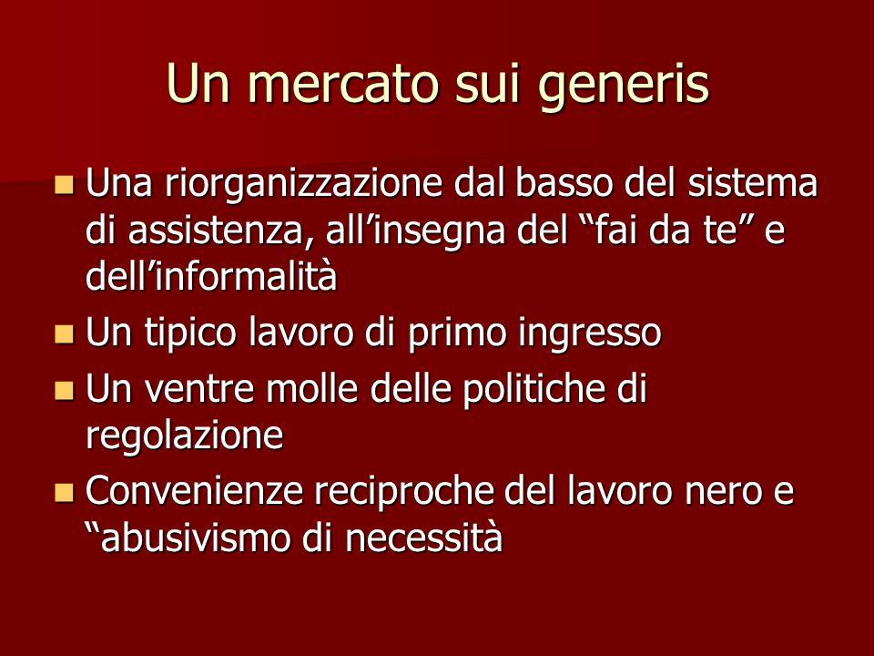 Un mercato sui generis Una riorganizzazione dal basso del sistema di assistenza, all'insegna del fai da te e dell'informalità.