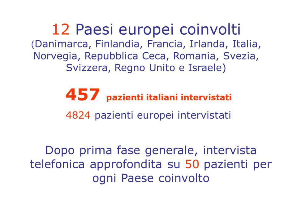 457 pazienti italiani intervistati 4824 pazienti europei intervistati