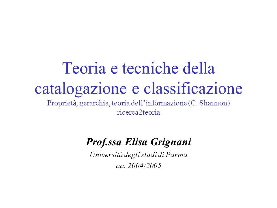 Prof.ssa Elisa Grignani Università degli studi di Parma aa. 2004/2005
