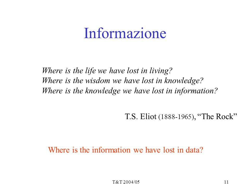 Informazione Where is the life we have lost in living