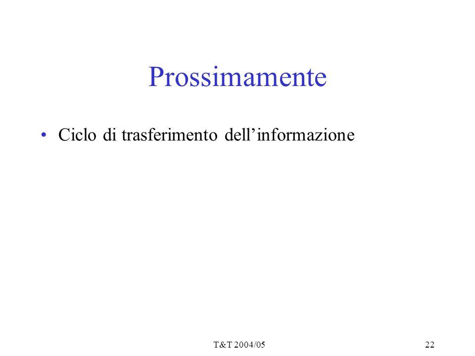 Prossimamente Ciclo di trasferimento dell'informazione T&T 2004/05
