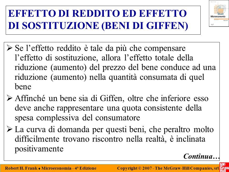 EFFETTO DI REDDITO ED EFFETTO DI SOSTITUZIONE (BENI DI GIFFEN)