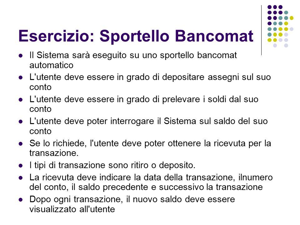 Esercizio: Sportello Bancomat