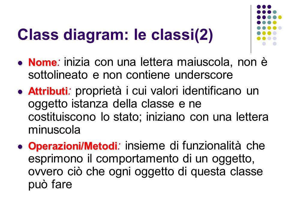 Class diagram: le classi(2)