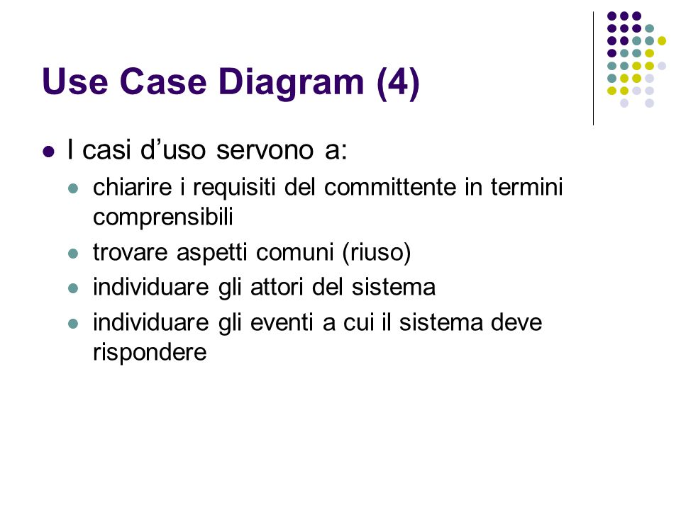Use Case Diagram (4) I casi d'uso servono a: