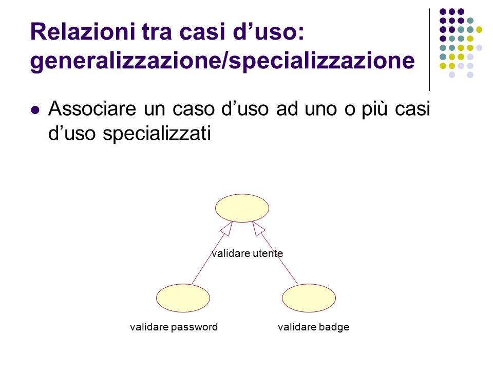 Relazioni tra casi d'uso: generalizzazione/specializzazione