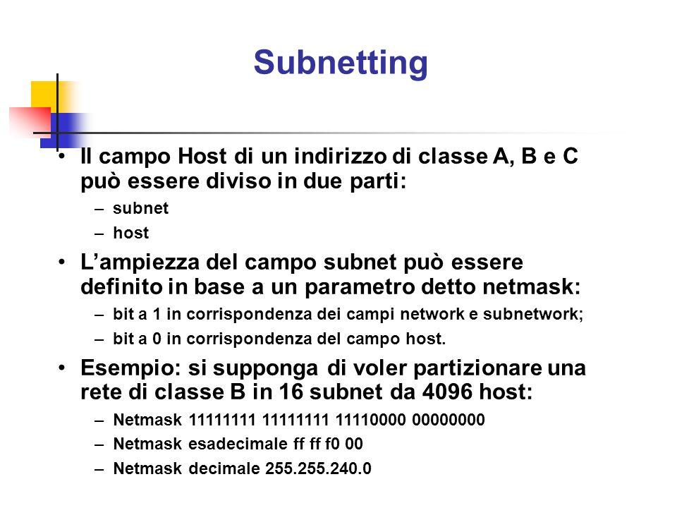 Subnetting Il campo Host di un indirizzo di classe A, B e C può essere diviso in due parti: subnet.