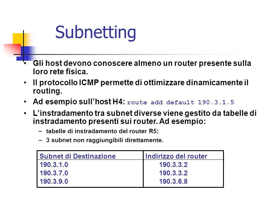 Subnetting Gli host devono conoscere almeno un router presente sulla loro rete fisica.