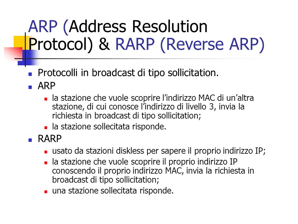 ARP (Address Resolution Protocol) & RARP (Reverse ARP)