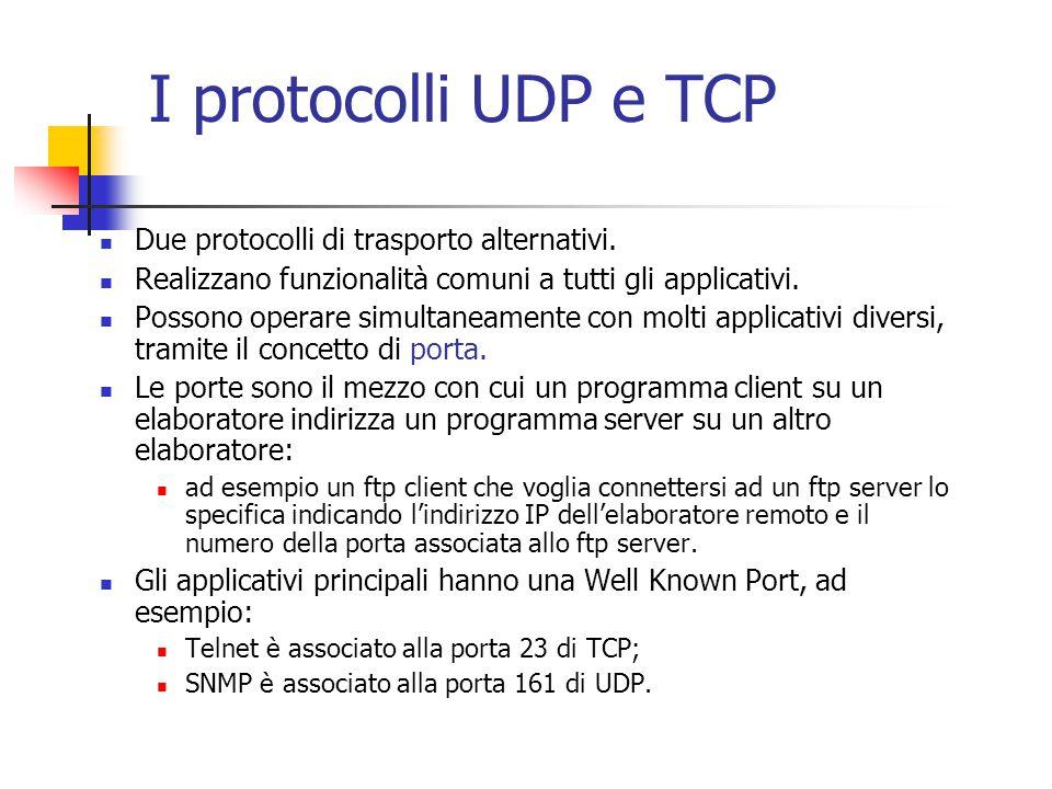 I protocolli UDP e TCP Due protocolli di trasporto alternativi.