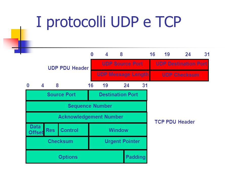 I protocolli UDP e TCP UDP PDU Header 4 8 16 19 24 31 UDP Source Port