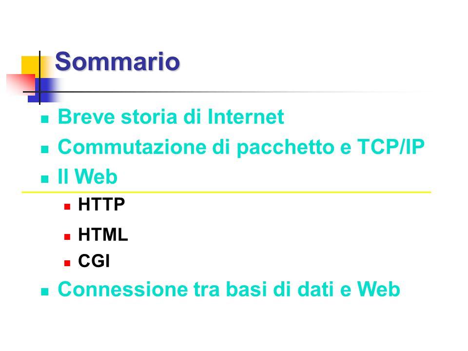 Sommario Breve storia di Internet Commutazione di pacchetto e TCP/IP