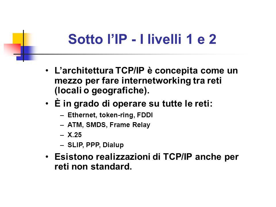 Sotto l'IP - I livelli 1 e 2 L'architettura TCP/IP è concepita come un mezzo per fare internetworking tra reti (locali o geografiche).