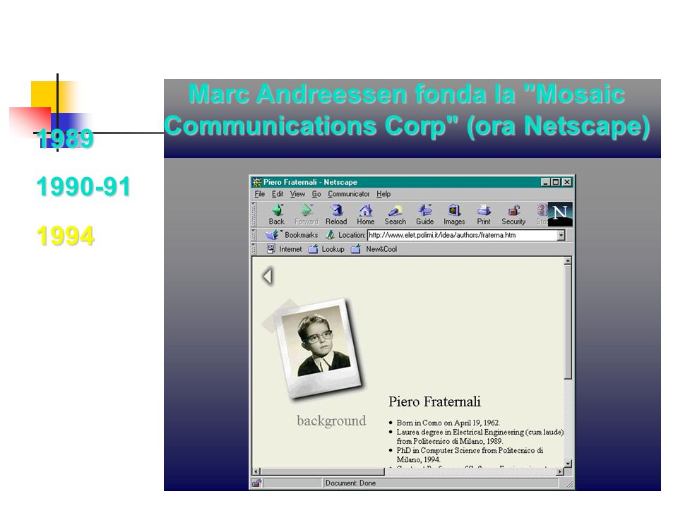 Marc Andreessen fonda la Mosaic Communications Corp (ora Netscape)
