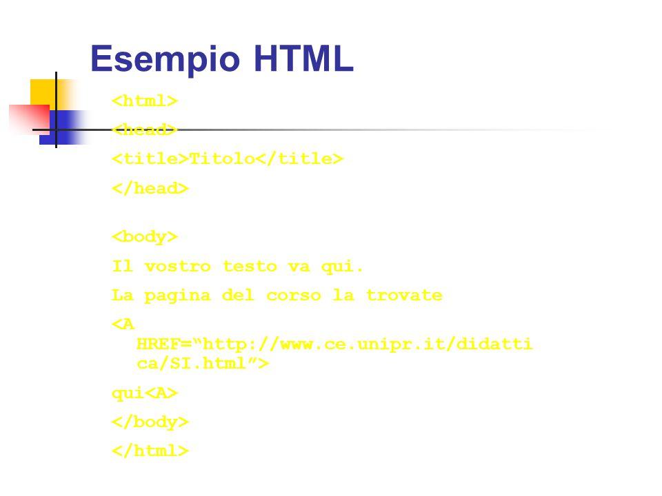 Esempio HTML <html> <head>