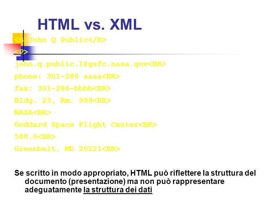HTML vs. XML <B>John Q Public</B> <P>