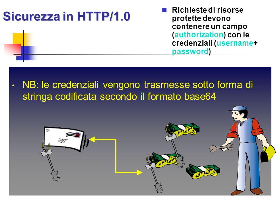 Sicurezza in HTTP/1.0 Richieste di risorse protette devono contenere un campo (authorization) con le credenziali (username+ password)
