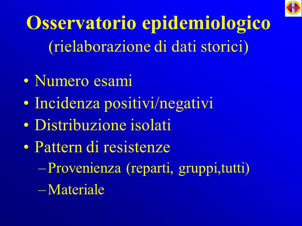 Osservatorio epidemiologico (rielaborazione di dati storici)
