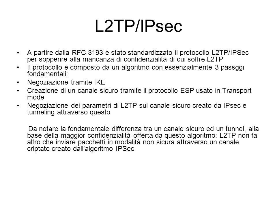L2TP/IPsec A partire dalla RFC 3193 è stato standardizzato il protocollo L2TP/IPSec per sopperire alla mancanza di confidenzialità di cui soffre L2TP.