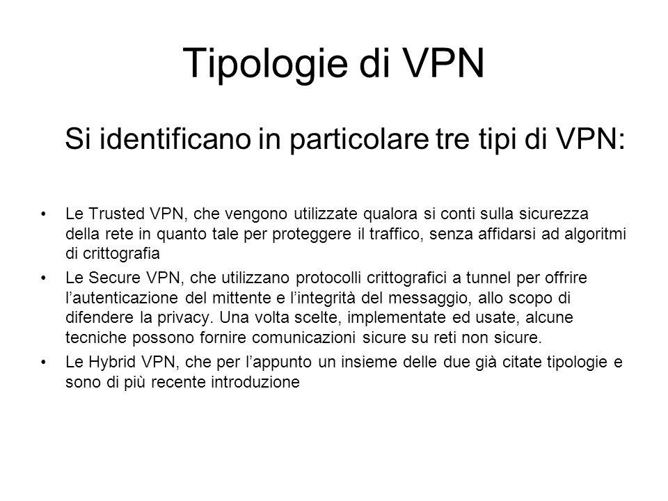 Tipologie di VPN Si identificano in particolare tre tipi di VPN: