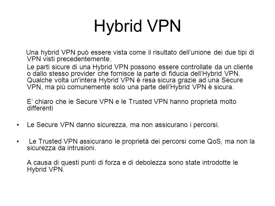 Hybrid VPN Una hybrid VPN può essere vista come il risultato dell'unione dei due tipi di VPN visti precedentemente.
