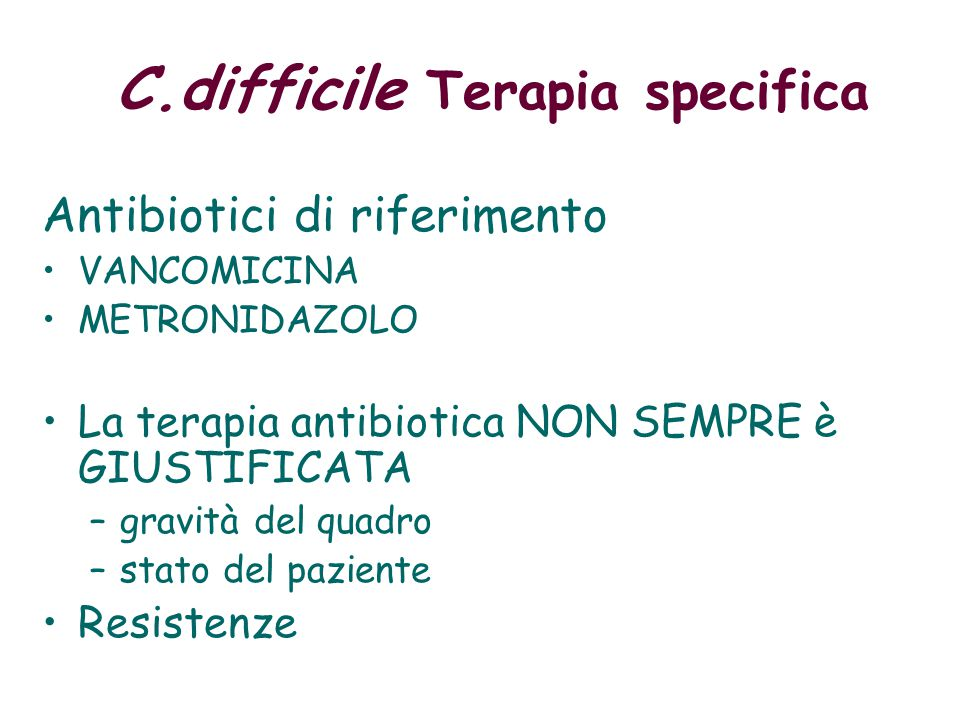 C.difficile Terapia specifica