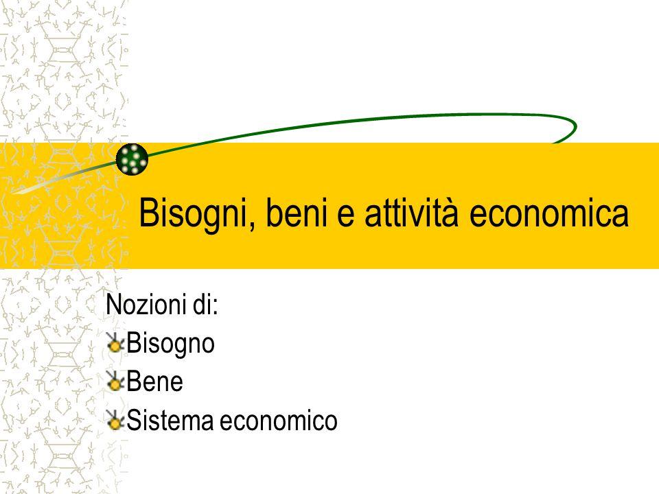 Bisogni, beni e attività economica
