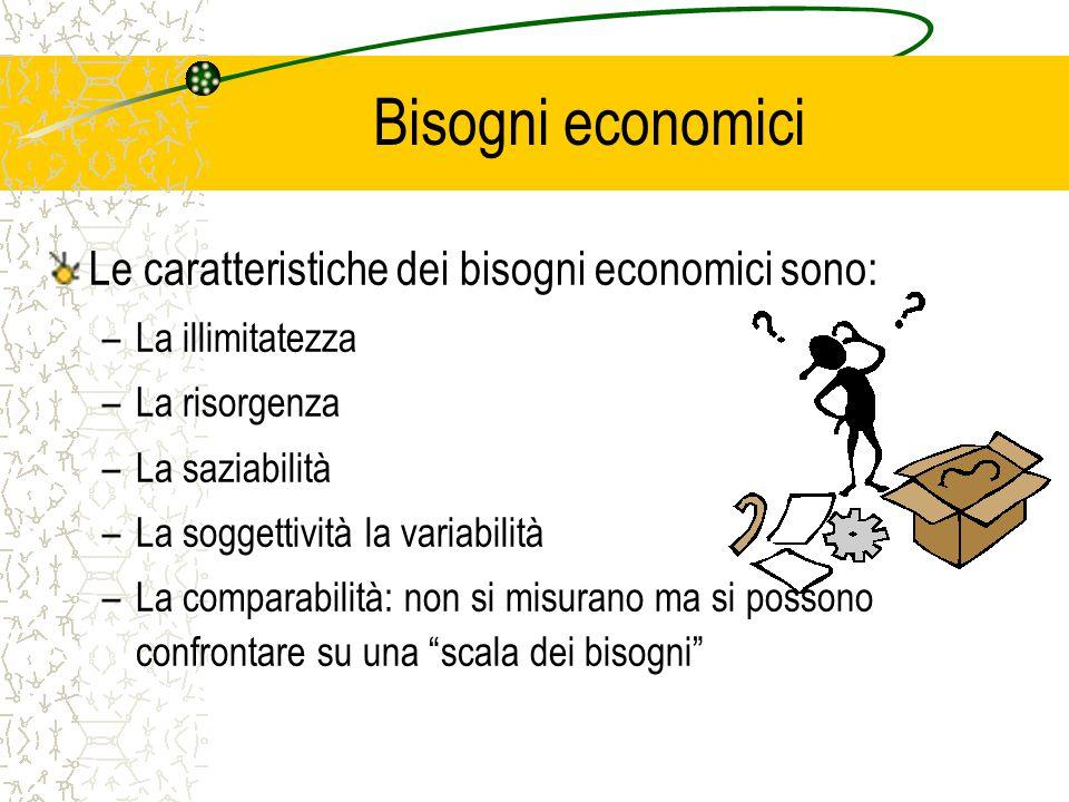 Bisogni economici Le caratteristiche dei bisogni economici sono: