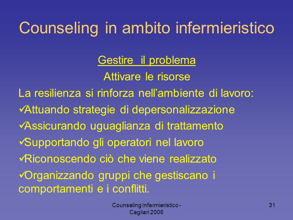 Counseling in ambito infermieristico