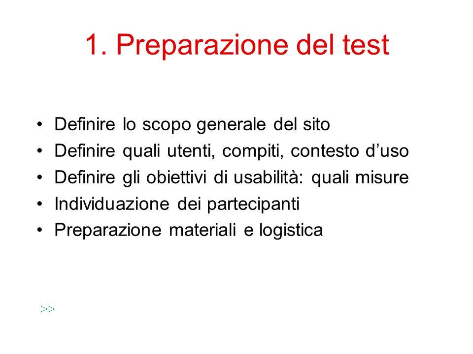 1. Preparazione del test Definire lo scopo generale del sito