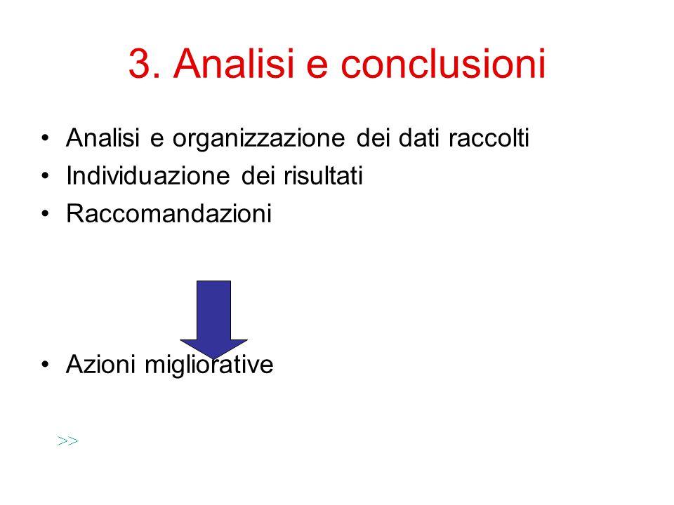 3. Analisi e conclusioni Analisi e organizzazione dei dati raccolti