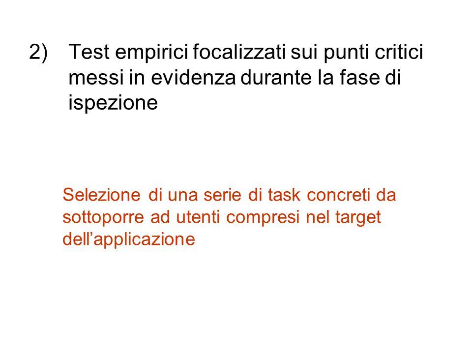 Test empirici focalizzati sui punti critici messi in evidenza durante la fase di ispezione
