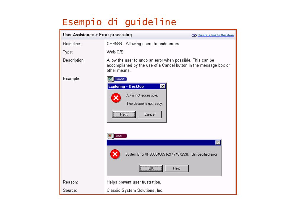 Esempio di guideline