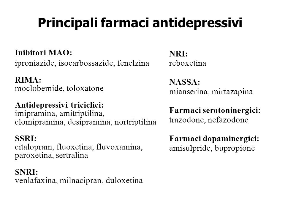 Principali farmaci antidepressivi