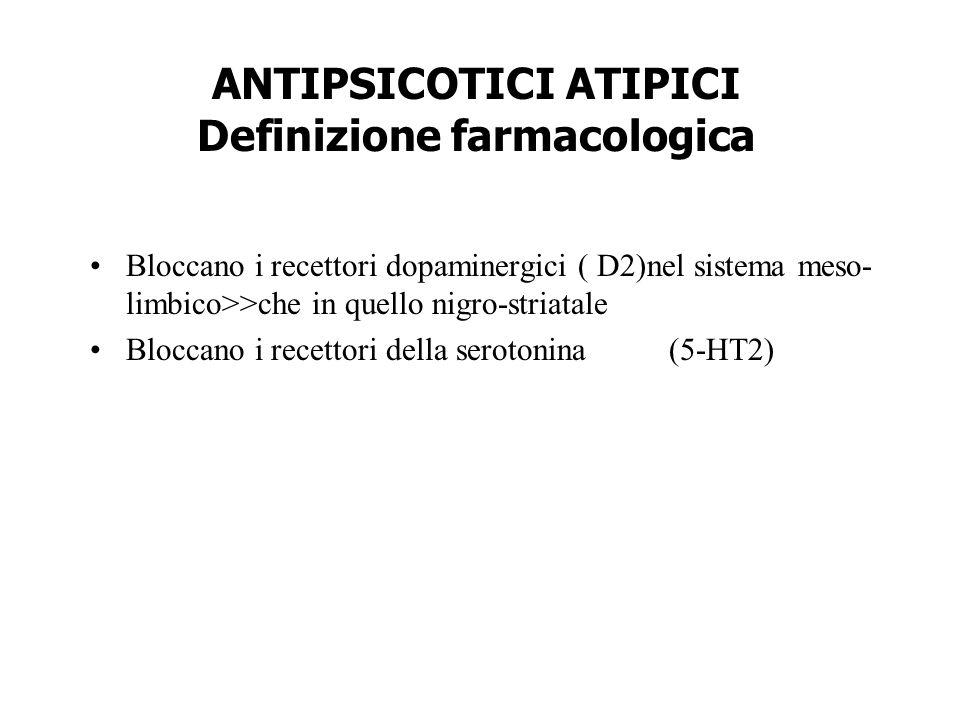 ANTIPSICOTICI ATIPICI Definizione farmacologica