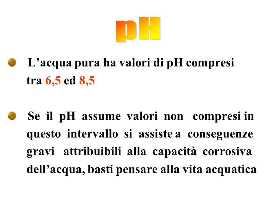 pH L'acqua pura ha valori di pH compresi tra 6,5 ed 8,5