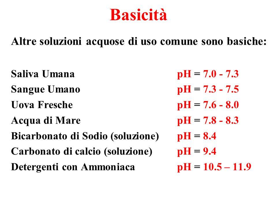 Basicità Altre soluzioni acquose di uso comune sono basiche: