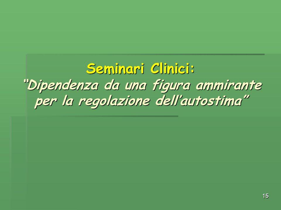 Seminari Clinici: Dipendenza da una figura ammirante per la regolazione dell'autostima