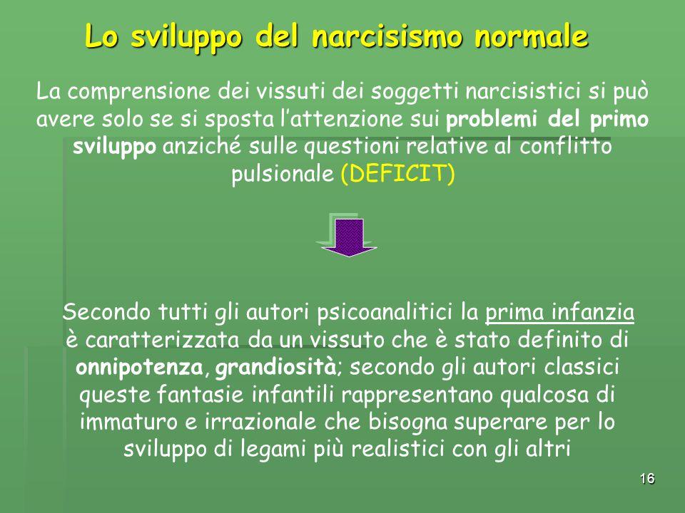 Lo sviluppo del narcisismo normale