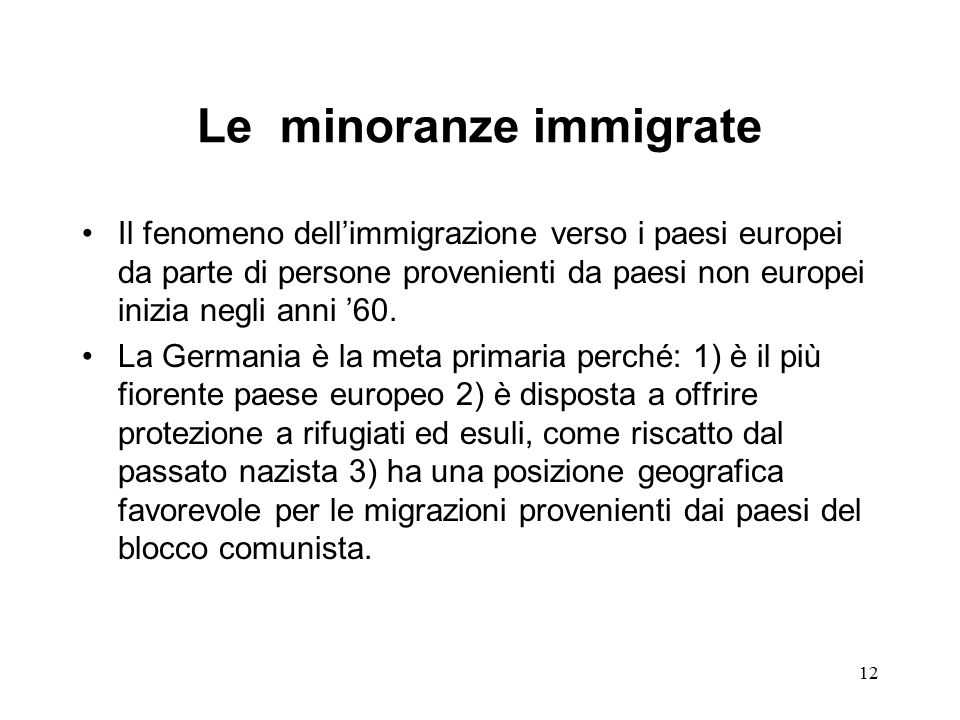Le minoranze immigrate
