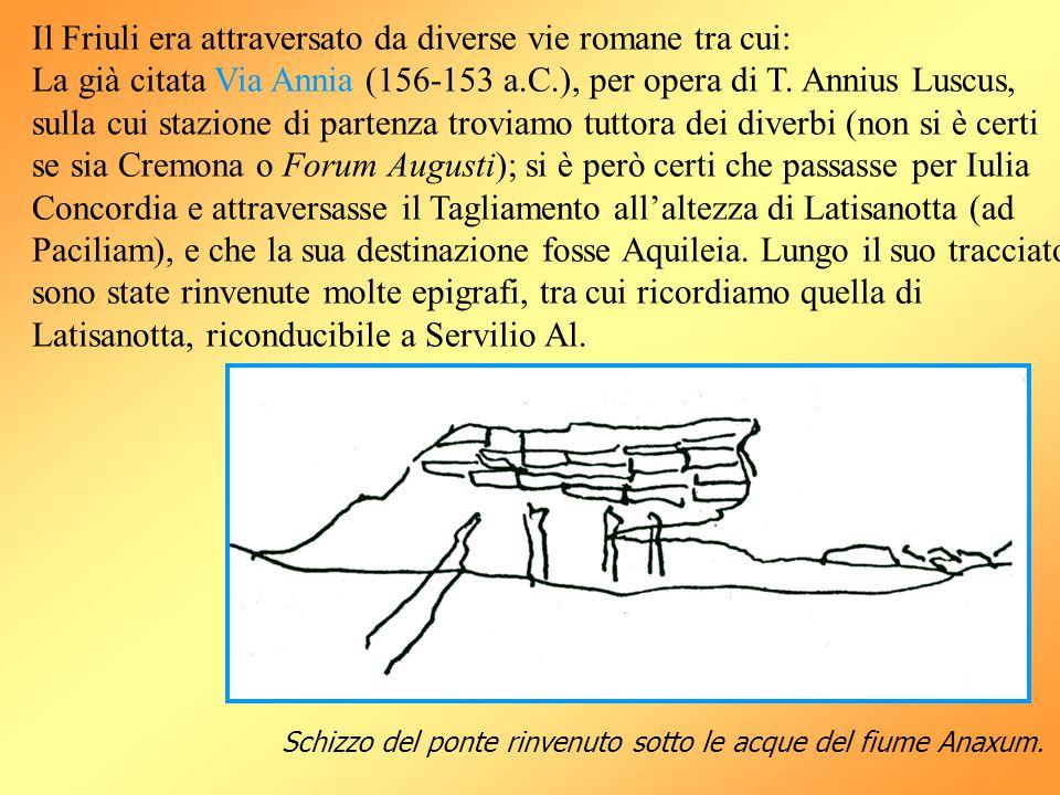 Il Friuli era attraversato da diverse vie romane tra cui: