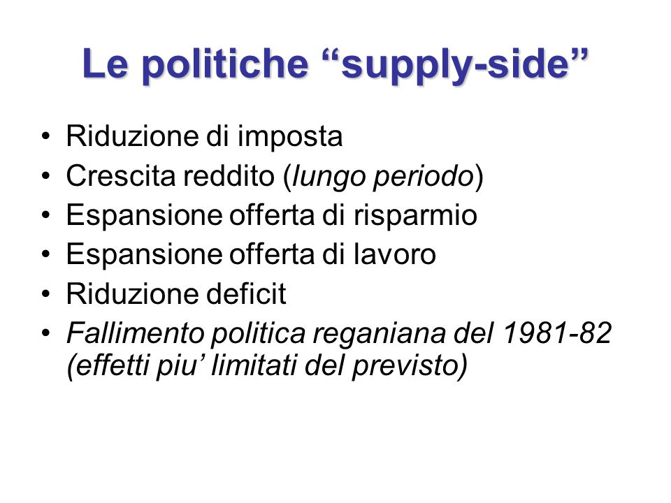 Le politiche supply-side